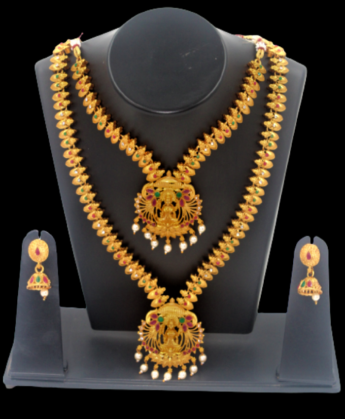 Unique leaf Laxmi Double Row  Necklace Imitation Jewelry