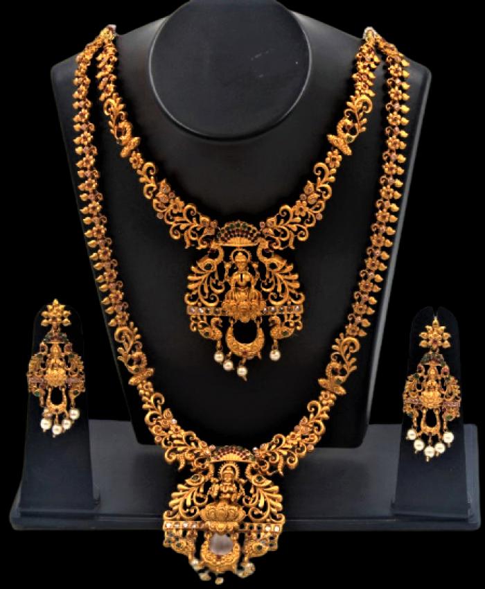 Laxmi Peacock Double Row Necklace Imitation Jewelry